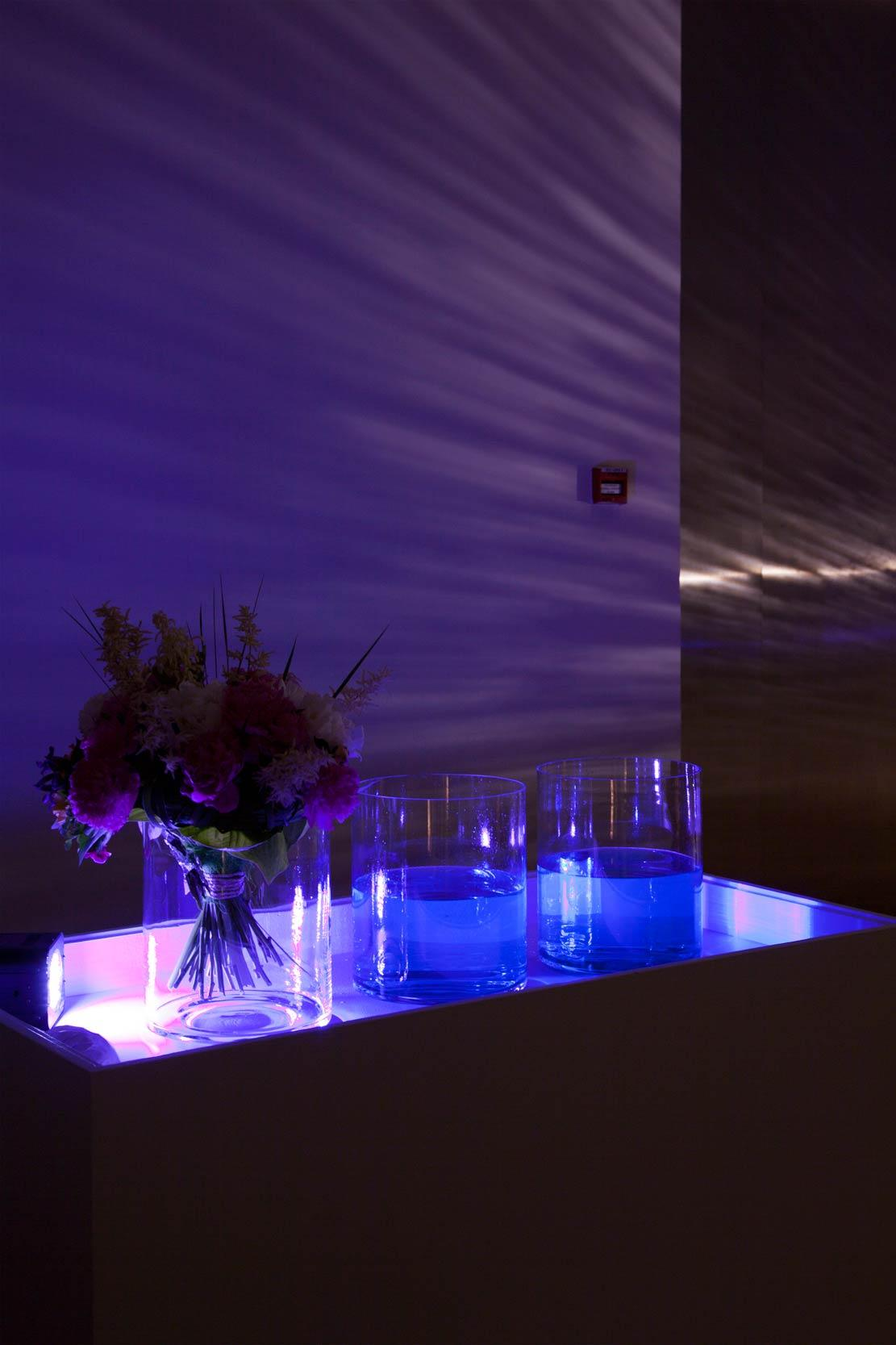 Blue Lagoon exhibition view/ When You Drink Me up I'll be Gone Forever. 2014. Vodka, tonic water, Blue Curacao ( work was available only during the opening)/ Photo by Anu Vahtra