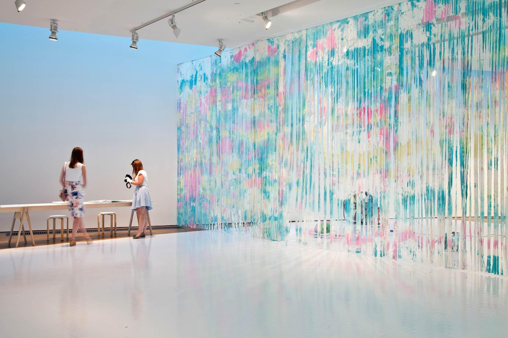 Blue Lagoon exhibition view/ Blow My Tie Dye, acrylic on canvas, spray paint on 3 fans, 2014. Photo by Anu Vahtra