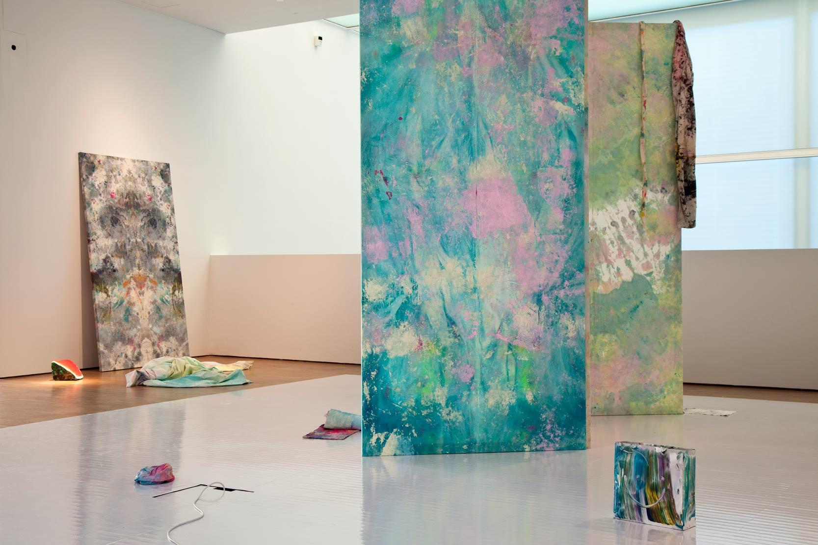 Blue Lagoon exhibition view/ Blue Lagoon. 2014 Acrylic and oil on various objects, white floor/ Photo by Anu Vahtra