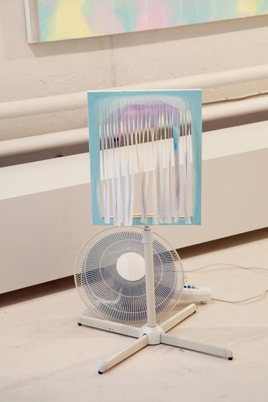A ventilating painting, oil on canvas and a fan, variable sizes, 2012