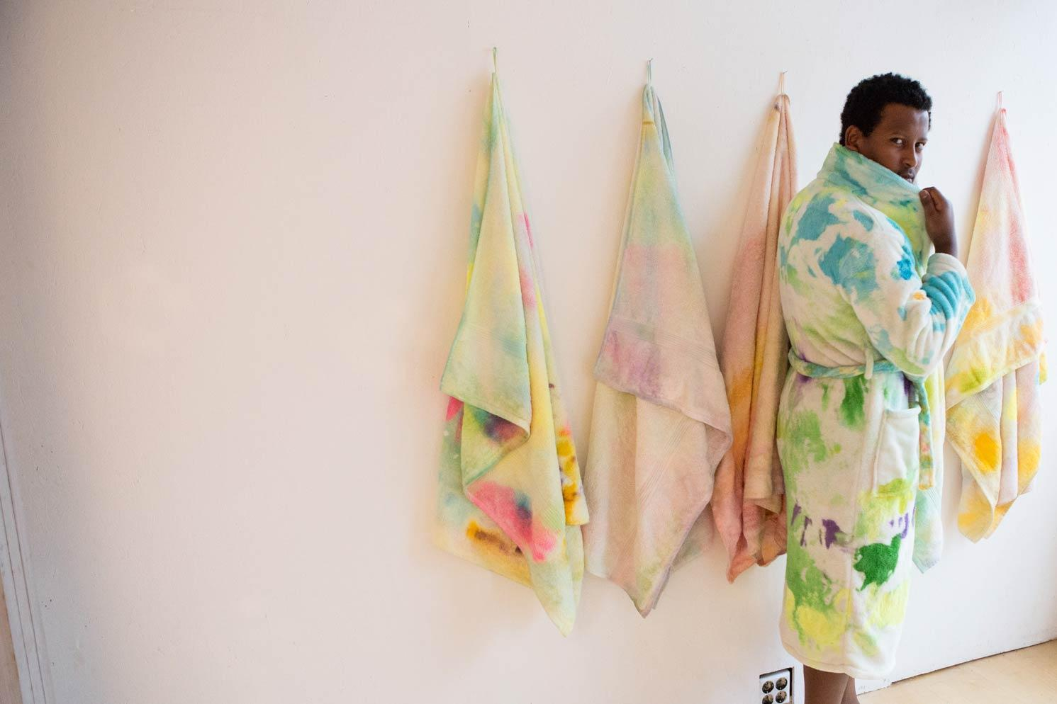 Limited edition of sauna sessions with paintings as towels and robes/ robes and towels as paintings in SmallProjects Tromso gallery. 2014. Photo by Kasia Mikolajewska