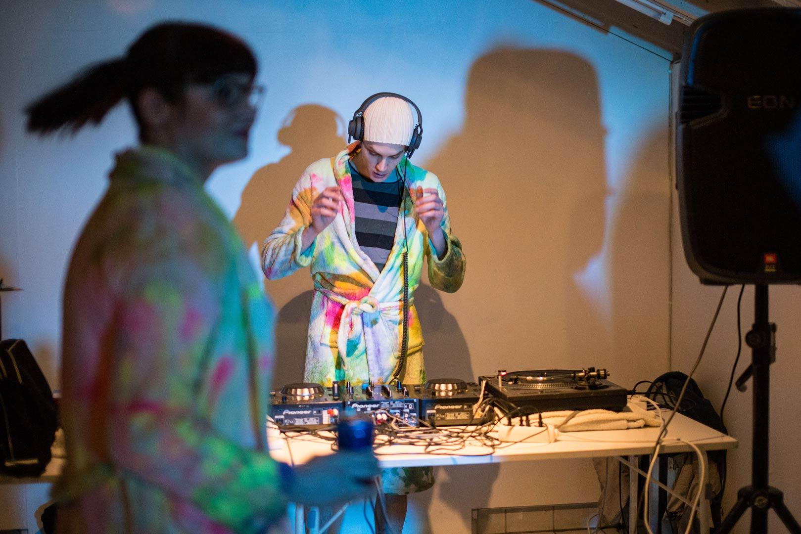 Limited edition of sauna sessions with paintings as towels and robes/ robes and towels as paintings in SmallProjects Tromso gallery. 2014/ / DJ Christian Bruun/  Photo by Kasia Mikolajewska